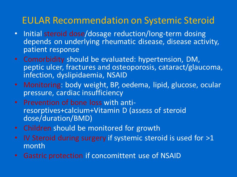 EULAR Recommendation on Systemic Steroid