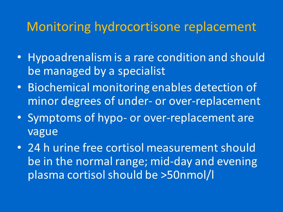 Monitoring hydrocortisone replacement