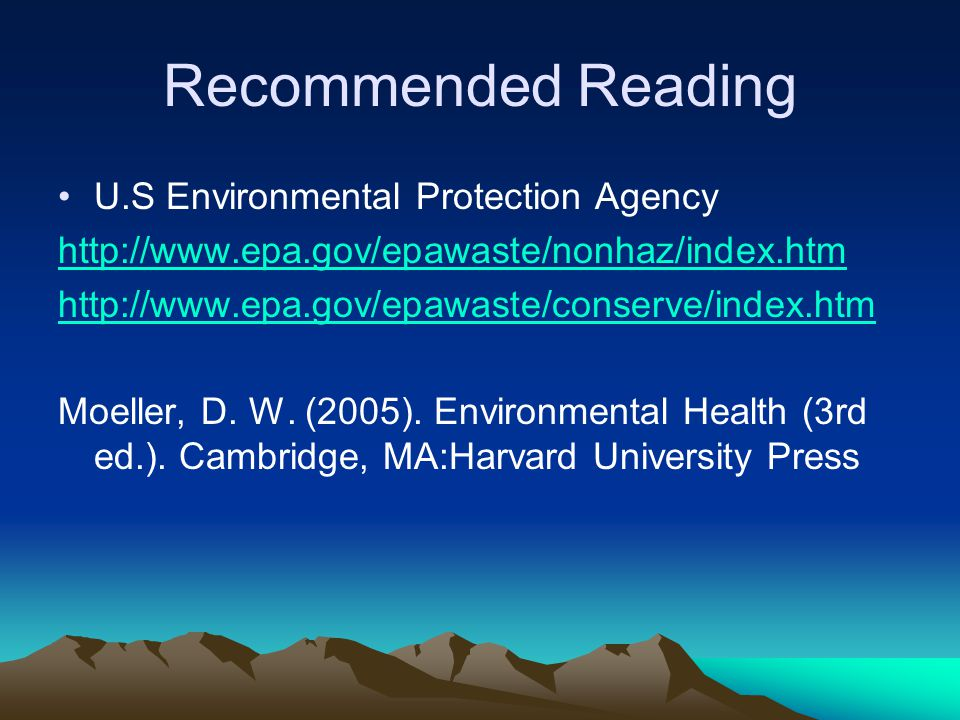 Recommended Reading U.S Environmental Protection Agency