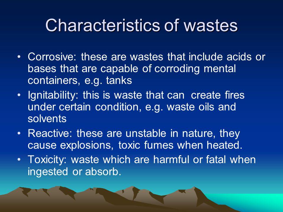 Characteristics of wastes