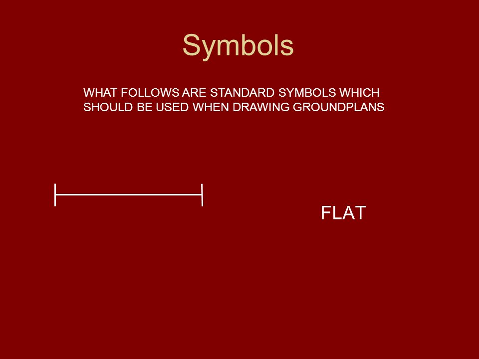 Symbols WHAT FOLLOWS ARE STANDARD SYMBOLS WHICH SHOULD BE USED WHEN DRAWING GROUNDPLANS FLAT