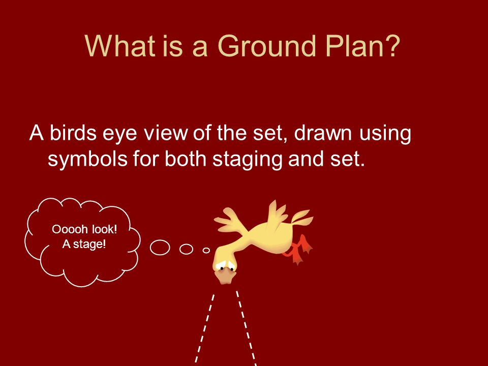 What is a Ground Plan. A birds eye view of the set, drawn using symbols for both staging and set.