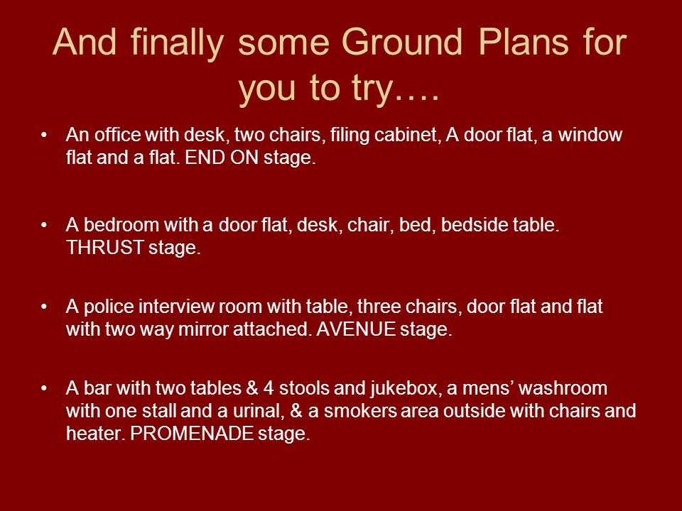 And finally some Ground Plans for you to try….