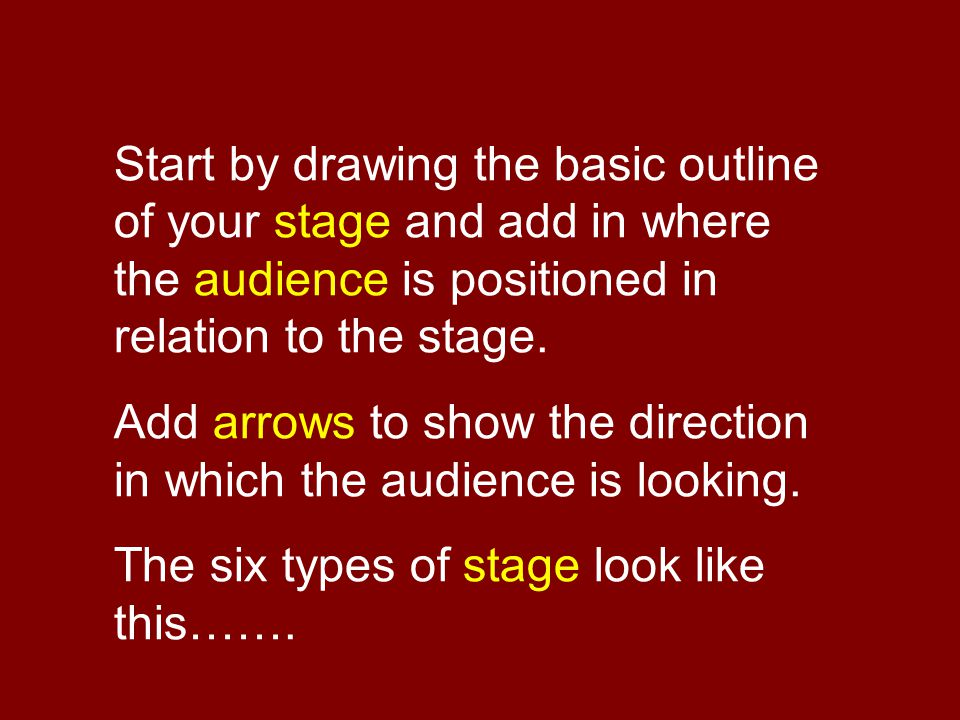 Start by drawing the basic outline of your stage and add in where the audience is positioned in relation to the stage.
