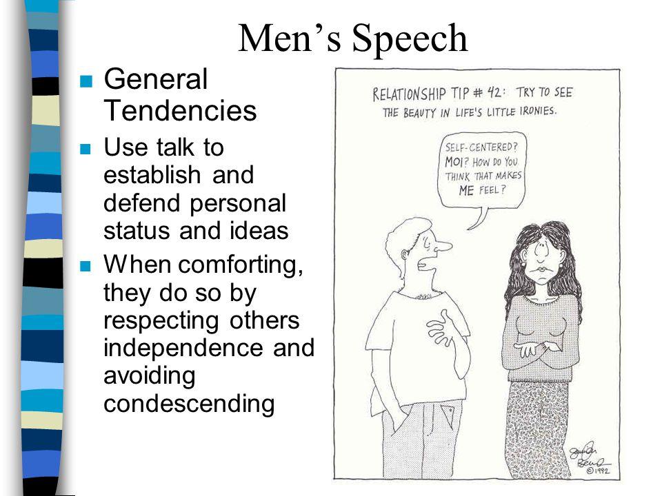 Men's Speech General Tendencies