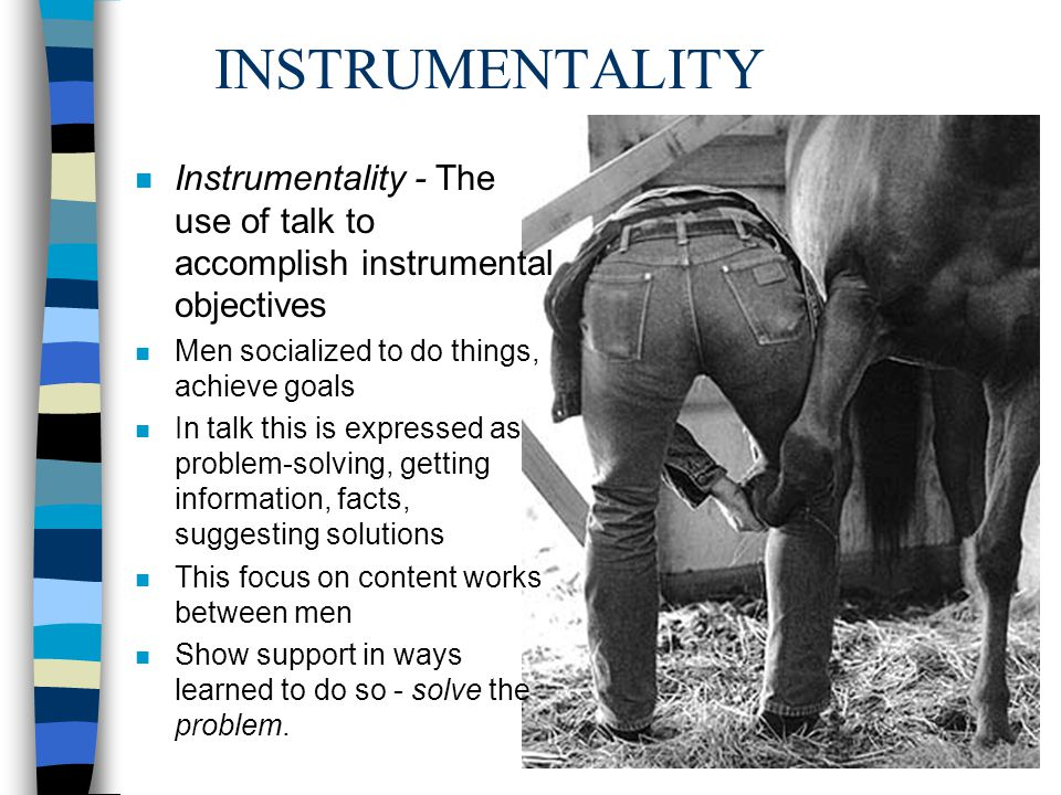INSTRUMENTALITY Instrumentality - The use of talk to accomplish instrumental objectives. Men socialized to do things, achieve goals.