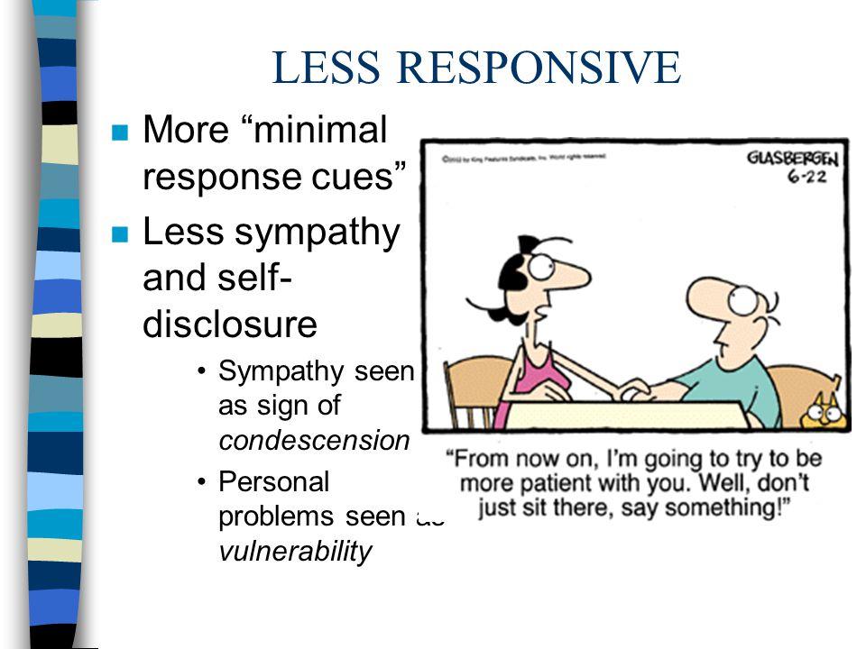 LESS RESPONSIVE More minimal response cues