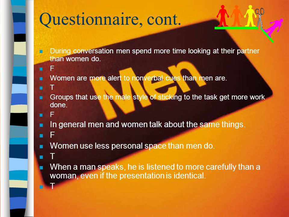 Questionnaire, cont. During conversation men spend more time looking at their partner than women do.