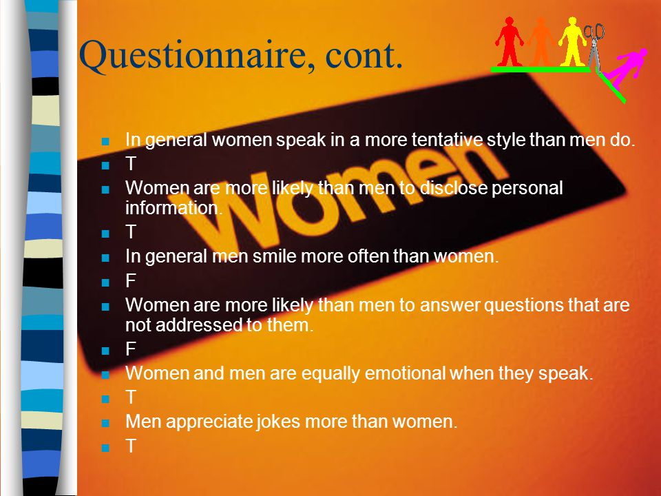 Questionnaire, cont. In general women speak in a more tentative style than men do. T.