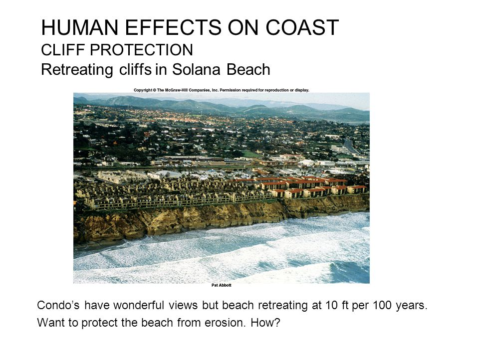 HUMAN EFFECTS ON COAST CLIFF PROTECTION Retreating cliffs in Solana Beach
