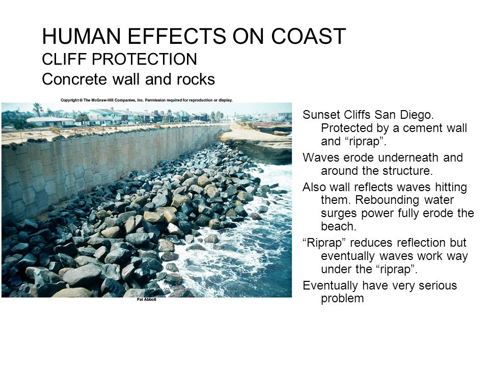 HUMAN EFFECTS ON COAST CLIFF PROTECTION Concrete wall and rocks
