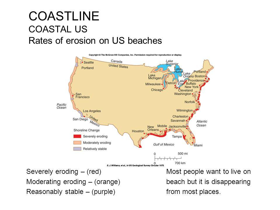 COASTLINE COASTAL US Rates of erosion on US beaches