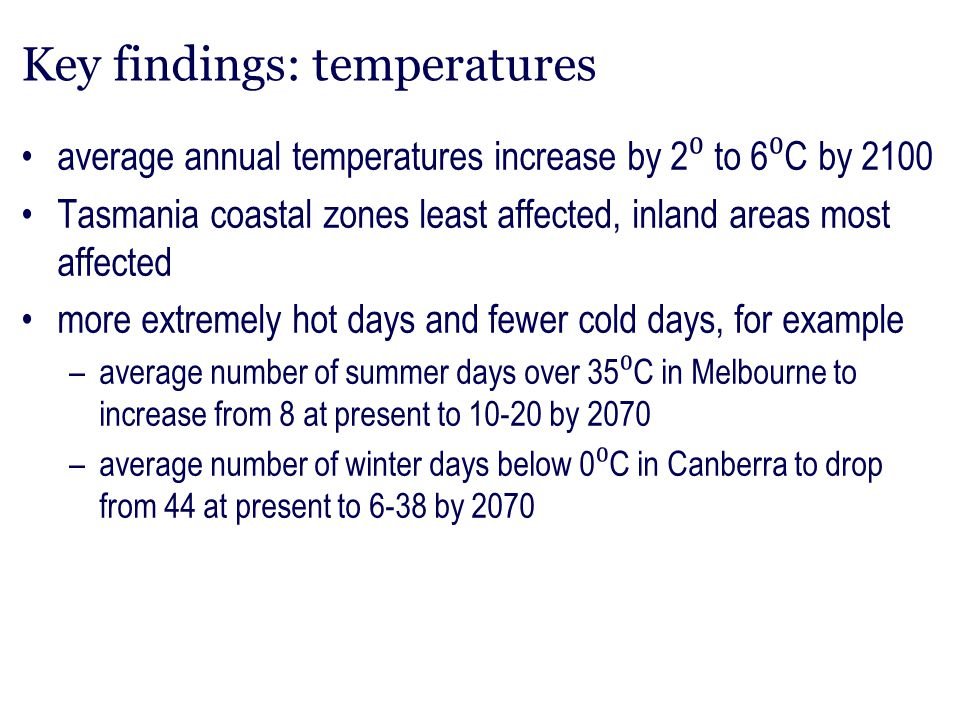 Key findings: temperatures