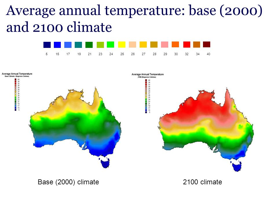Average annual temperature: base (2000) and 2100 climate