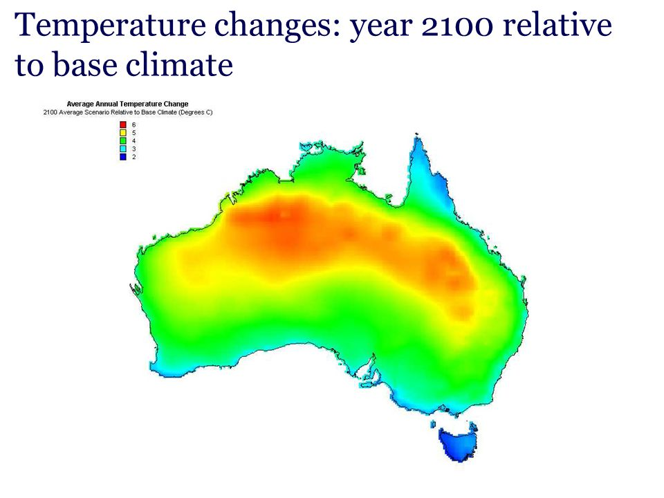 Temperature changes: year 2100 relative to base climate