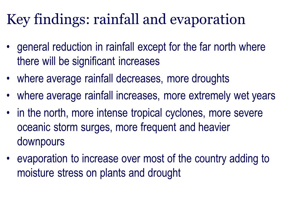 Key findings: rainfall and evaporation