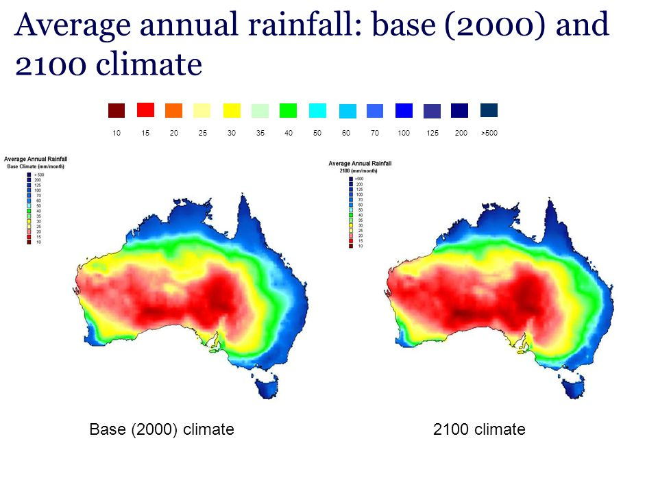 Average annual rainfall: base (2000) and 2100 climate
