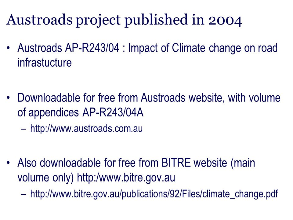 Austroads project published in 2004
