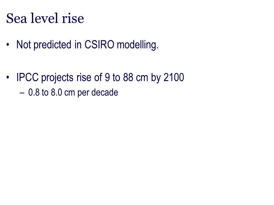 Sea level rise Not predicted in CSIRO modelling.