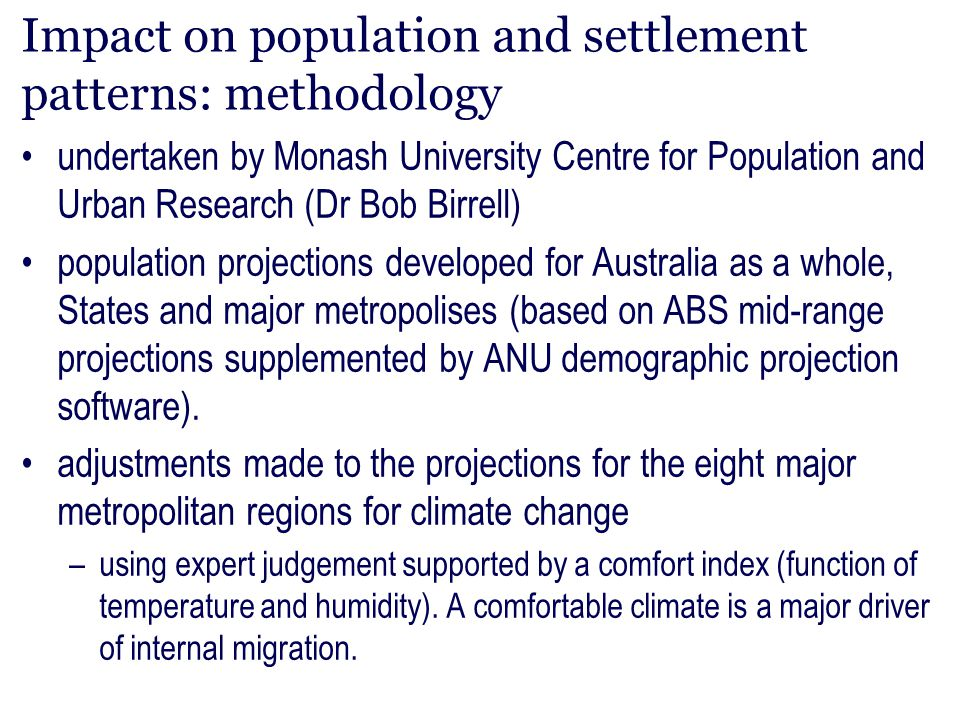 Impact on population and settlement patterns: methodology
