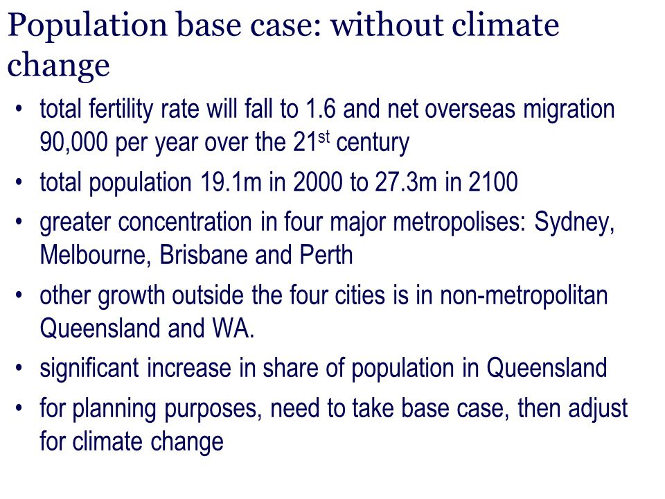 Population base case: without climate change