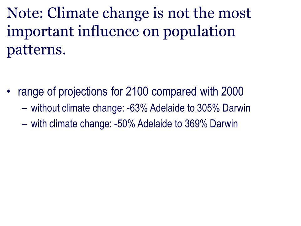 Note: Climate change is not the most important influence on population patterns.
