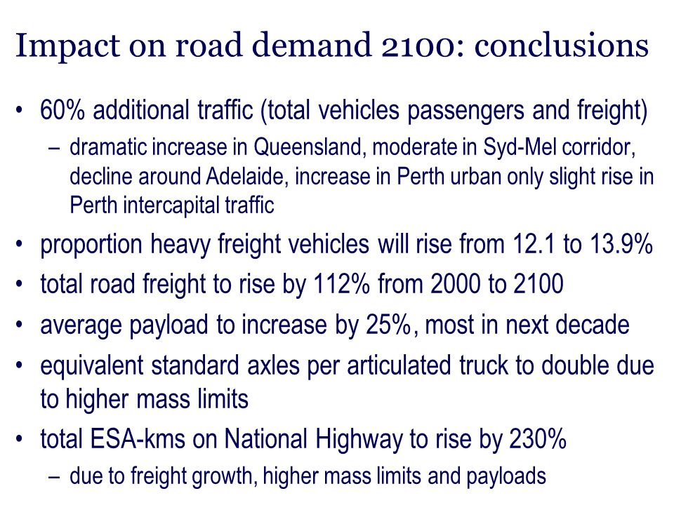 Impact on road demand 2100: conclusions