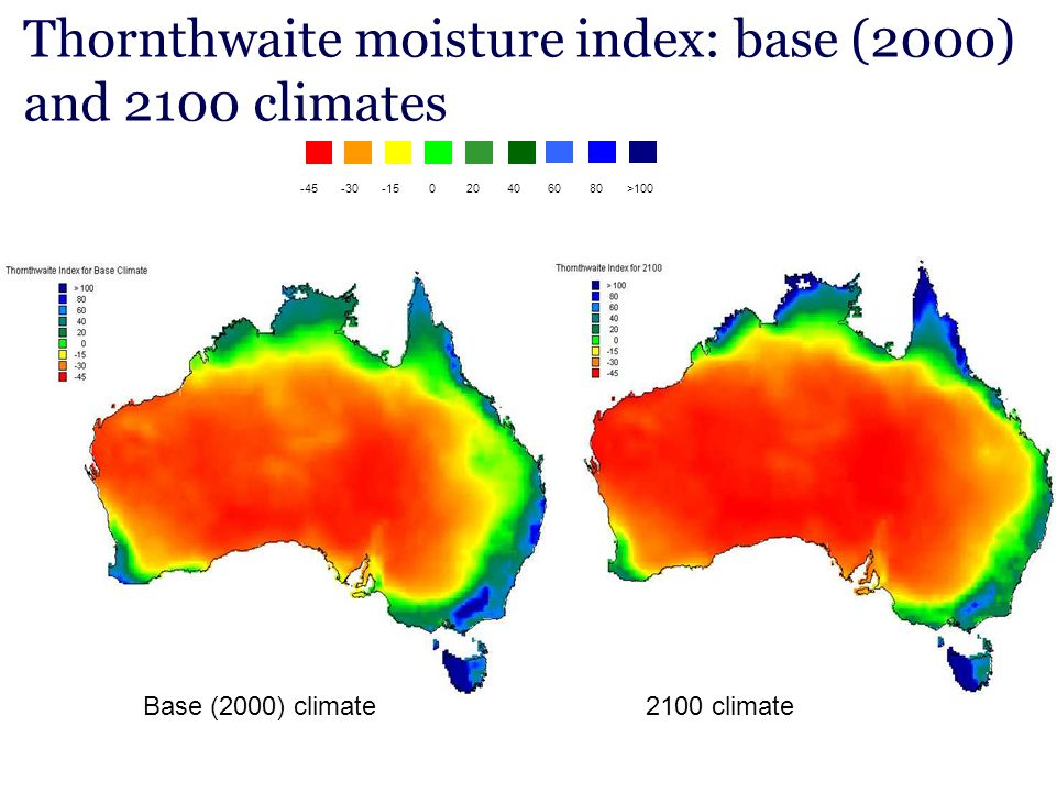 Thornthwaite moisture index: base (2000) and 2100 climates