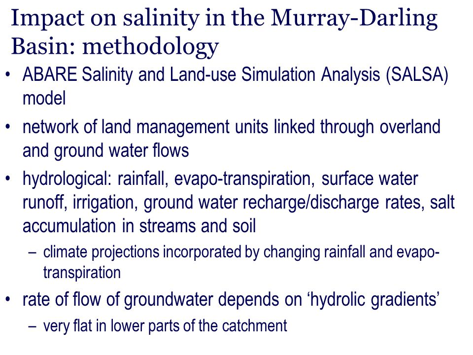 Impact on salinity in the Murray-Darling Basin: methodology