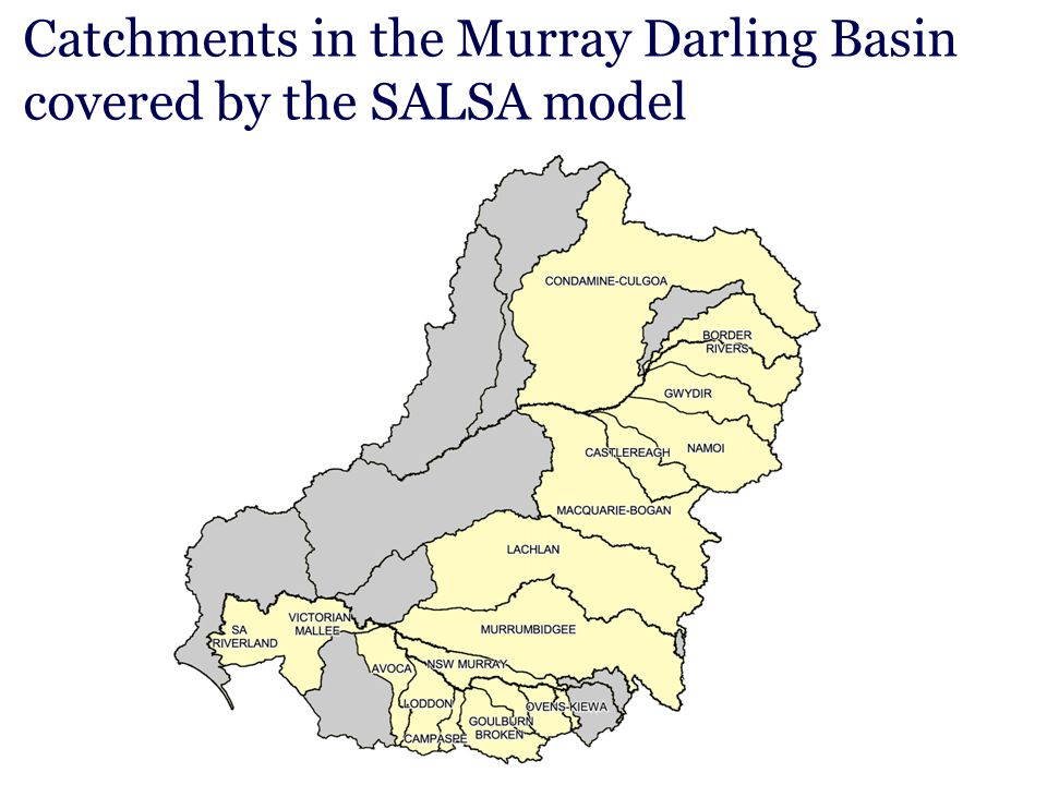 Catchments in the Murray Darling Basin covered by the SALSA model