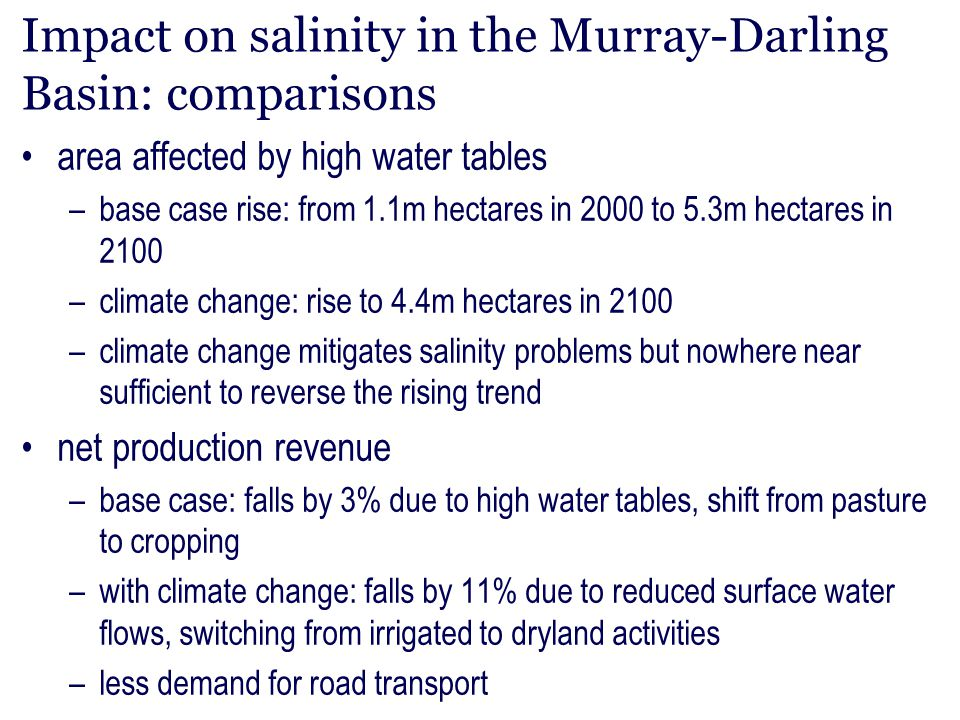 Impact on salinity in the Murray-Darling Basin: comparisons