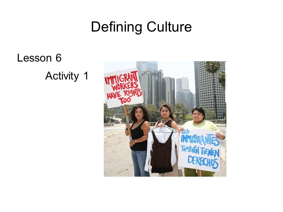 Defining Culture Lesson 6 Activity 1
