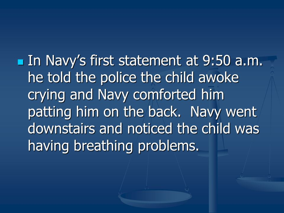 In Navy's first statement at 9:50 a. m
