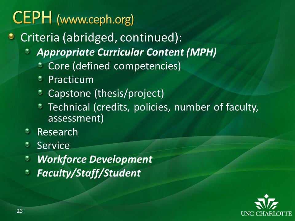 CEPH (www.ceph.org) Criteria (abridged, continued):