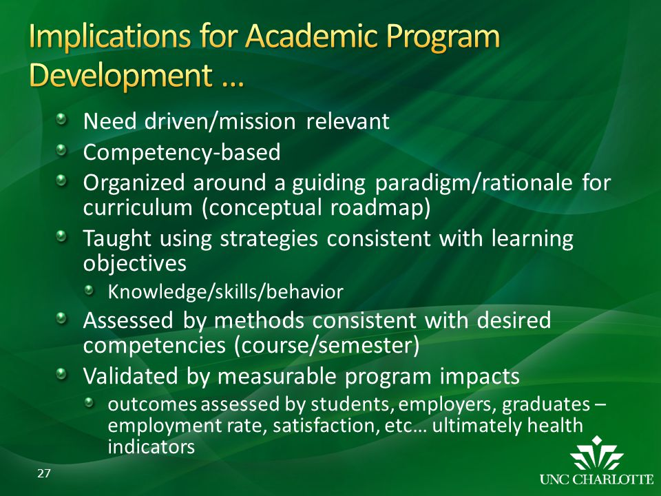 Implications for Academic Program Development …