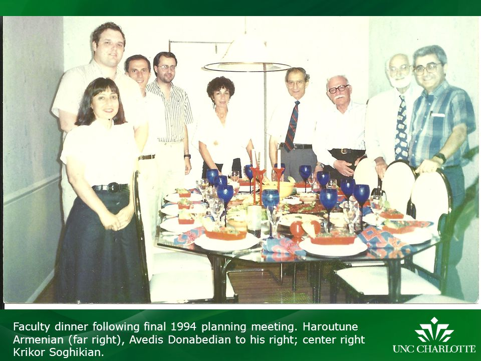 Faculty dinner following final 1994 planning meeting
