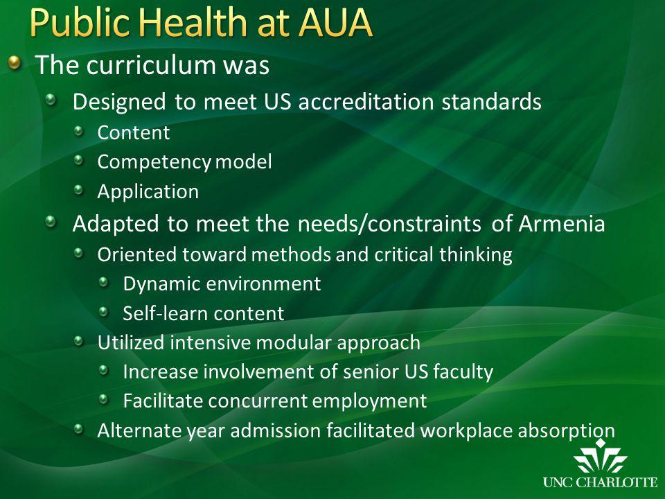 Public Health at AUA The curriculum was