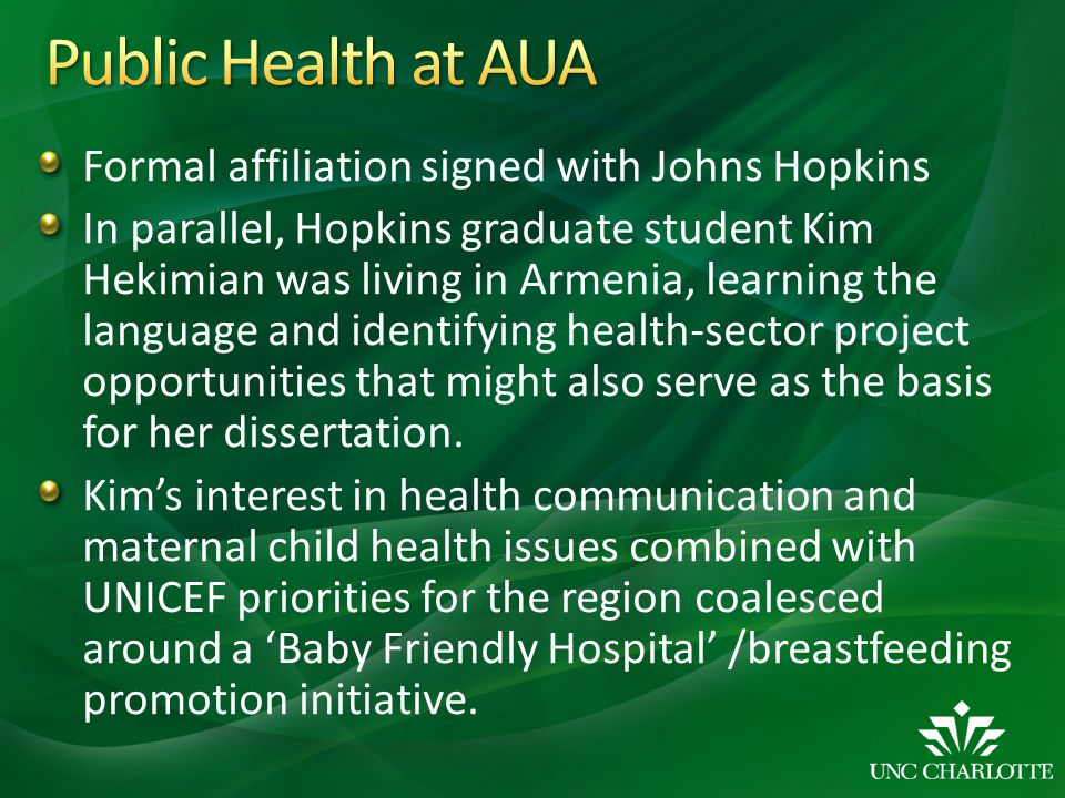 Public Health at AUA Formal affiliation signed with Johns Hopkins