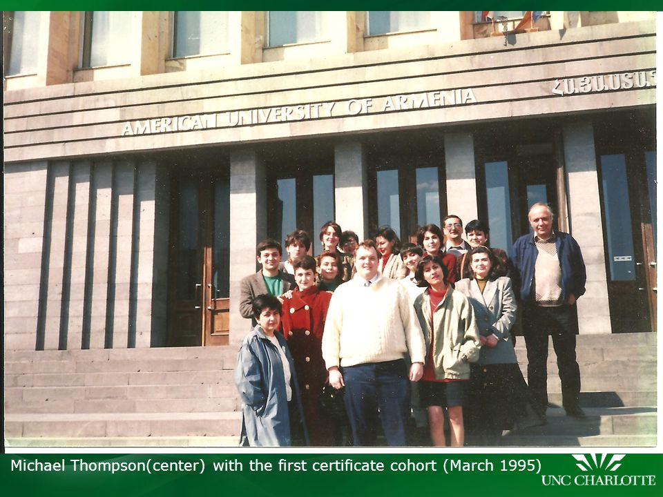 Michael Thompson(center) with the first certificate cohort (March 1995)
