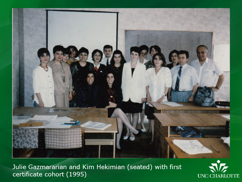 Julie Gazmararian and Kim Hekimian (seated) with first certificate cohort (1995)