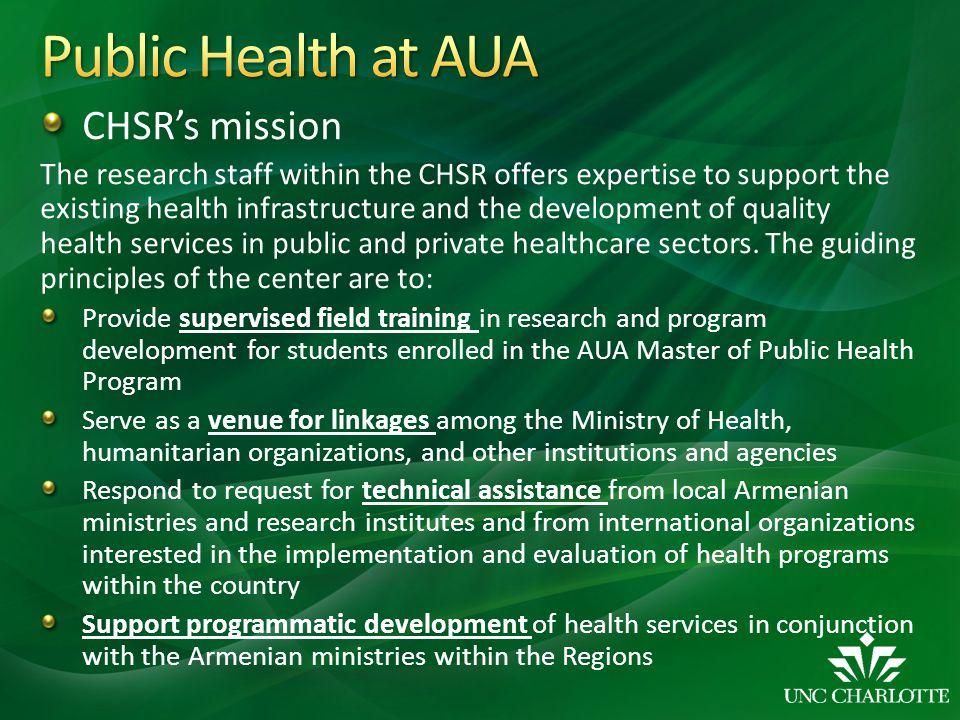 Public Health at AUA CHSR's mission
