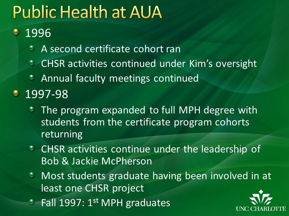 Public Health at AUA 1996 1997-98 A second certificate cohort ran
