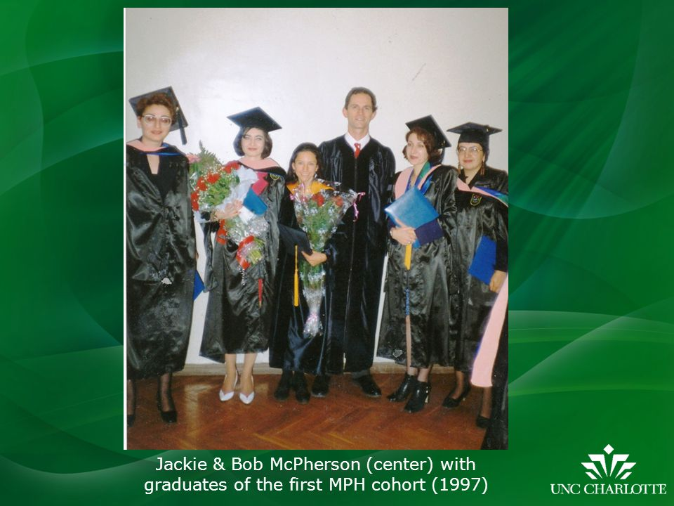 Jackie & Bob McPherson (center) with graduates of the first MPH cohort (1997)