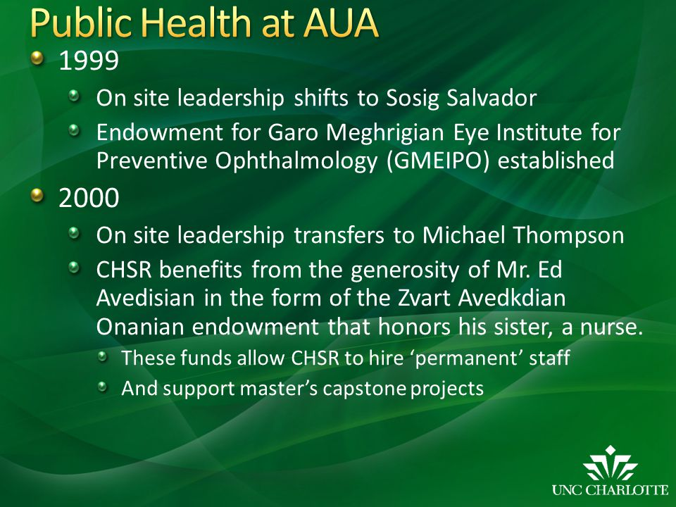 Public Health at AUA 1999. On site leadership shifts to Sosig Salvador.