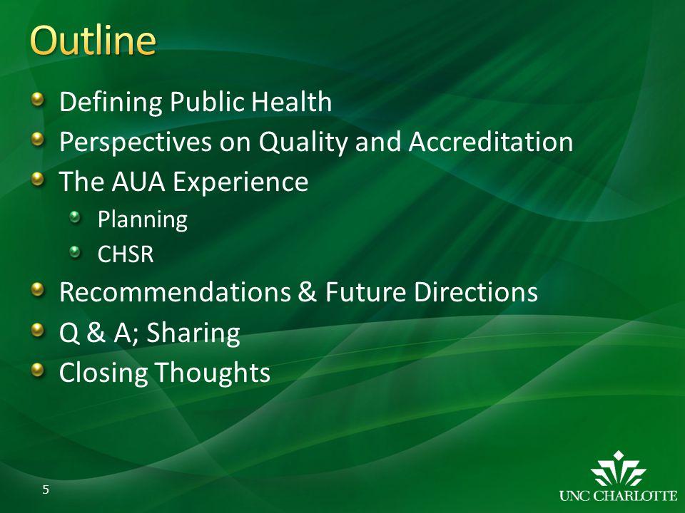 Outline Defining Public Health