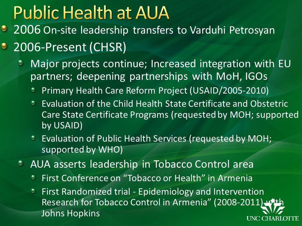 Public Health at AUA 2006 On-site leadership transfers to Varduhi Petrosyan. 2006-Present (CHSR)