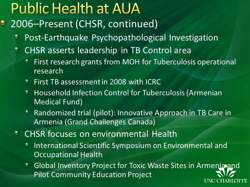 Public Health at AUA 2006–Present (CHSR, continued)