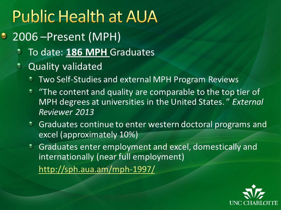 Public Health at AUA 2006 –Present (MPH) To date: 186 MPH Graduates