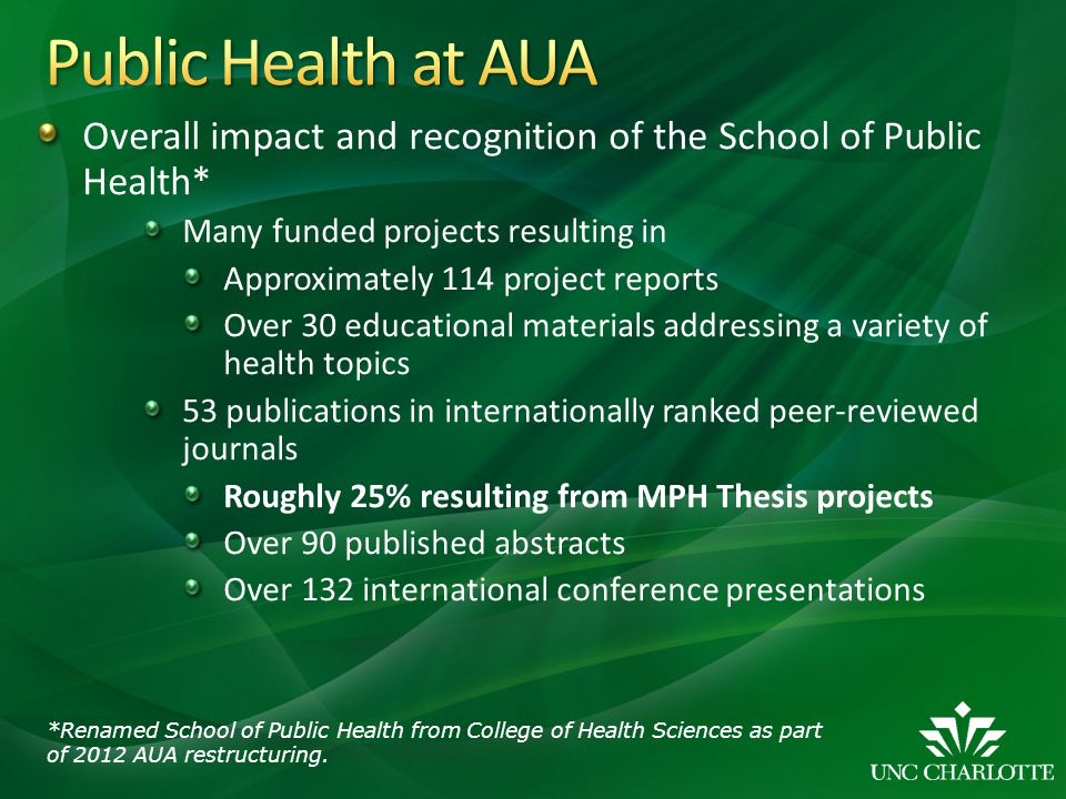 Public Health at AUA Overall impact and recognition of the School of Public Health* Many funded projects resulting in.