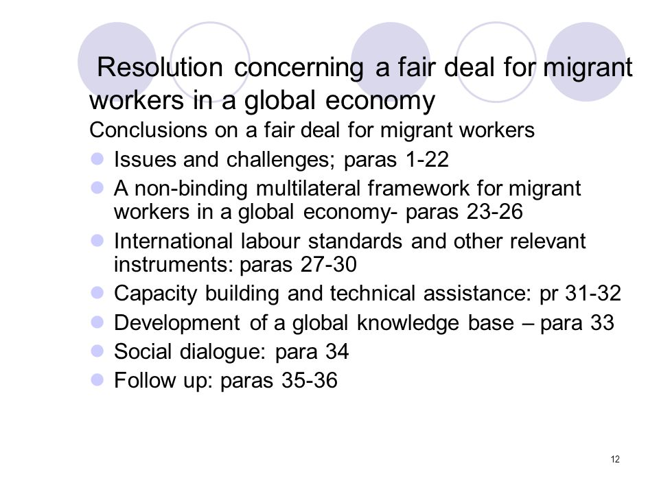 Resolution concerning a fair deal for migrant workers in a global economy